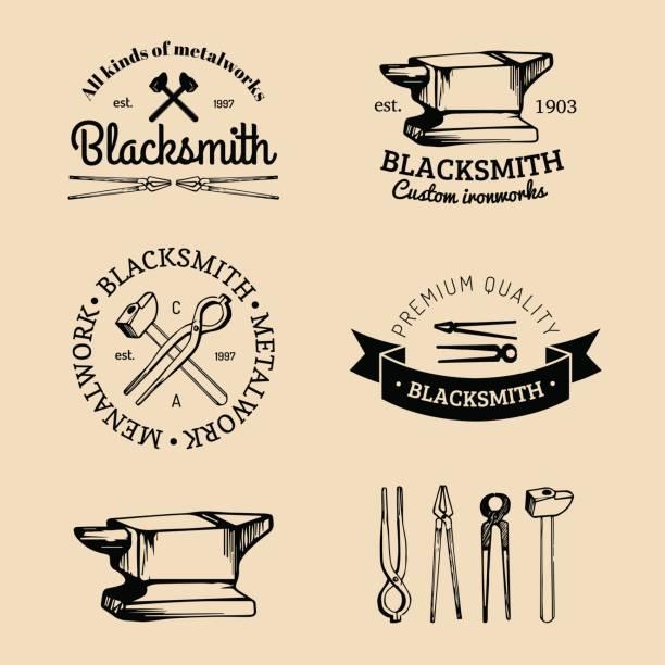 Vector set of hand sketched blacksmith symbols. Vintage farrier labels collection. vector art illustration