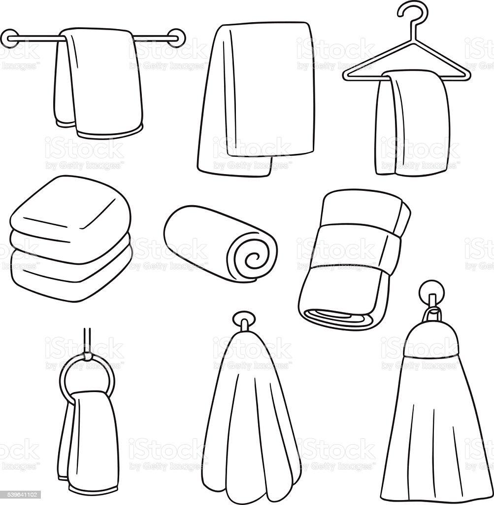 vector set of hand towel vector art illustration