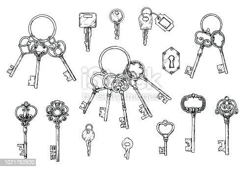Vector set of hand-drawn antique keys. Illustration in sketch style on white background. Old design.