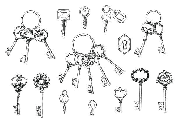 vector set of hand-drawn antique keys. illustration in sketch style on white background. old design - klucz stock illustrations