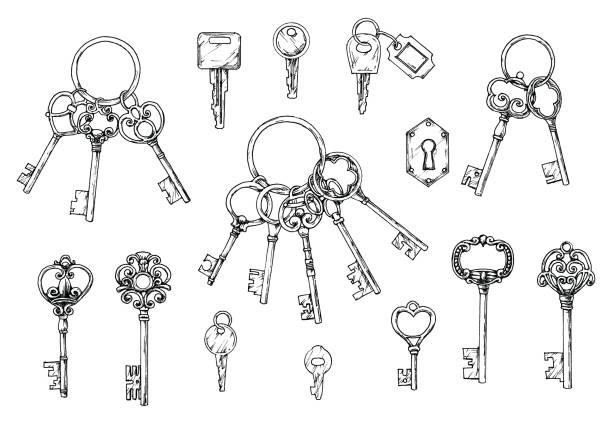旧式なキーの手描きのベクトルを設定します。白い背景の上のスケッチ風イラスト。古いデザイン - 鍵点のイラスト素材/クリップアート素材/マンガ素材/アイコン素材