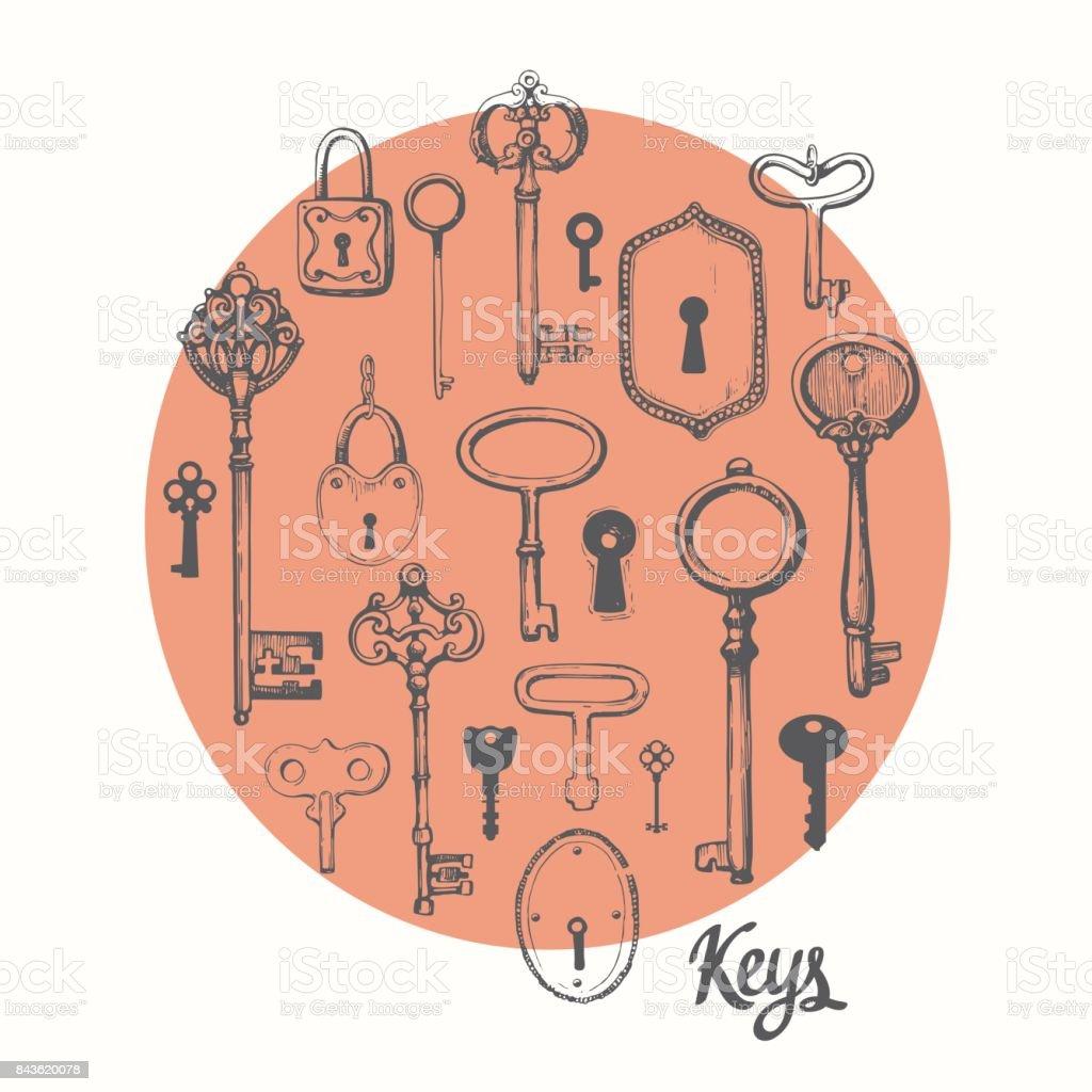 Vector Key Illustration: Vector Set Of Handdrawn Antique Keys Illustration In