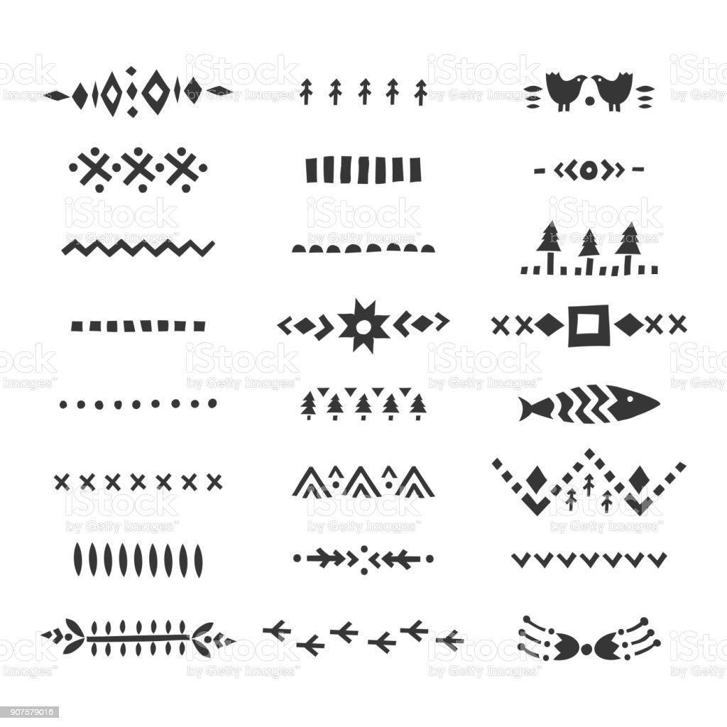 Conjunto de vector de divisores decorativos hechos a mano en estilo escandinavo. - ilustración de arte vectorial