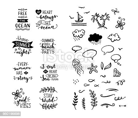 istock Vector set of hand-drawn lettering phrases and clipart elements. 950196698
