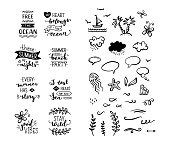 Vector set of hand-drawn lettering phrases and clipart elements.