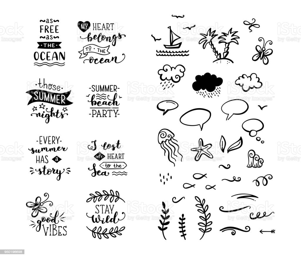 Vector set of hand-drawn lettering phrases and clipart elements. vector art illustration
