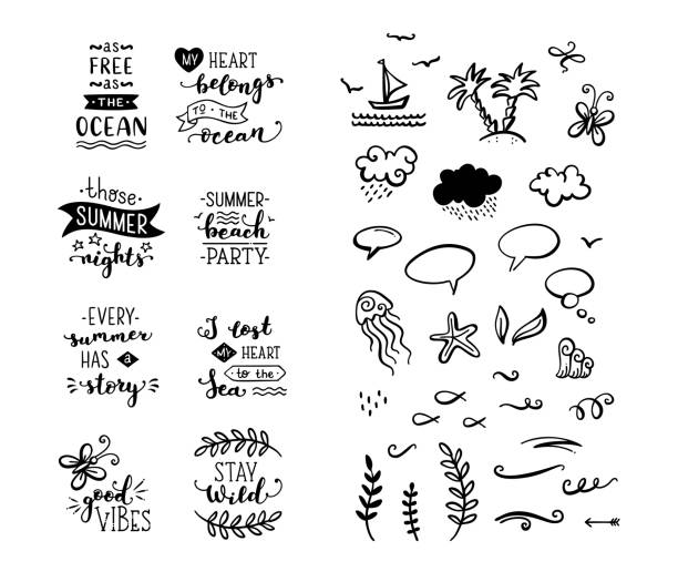 vector set of hand-drawn lettering phrases and clipart elements. - wildlife travel stock illustrations, clip art, cartoons, & icons