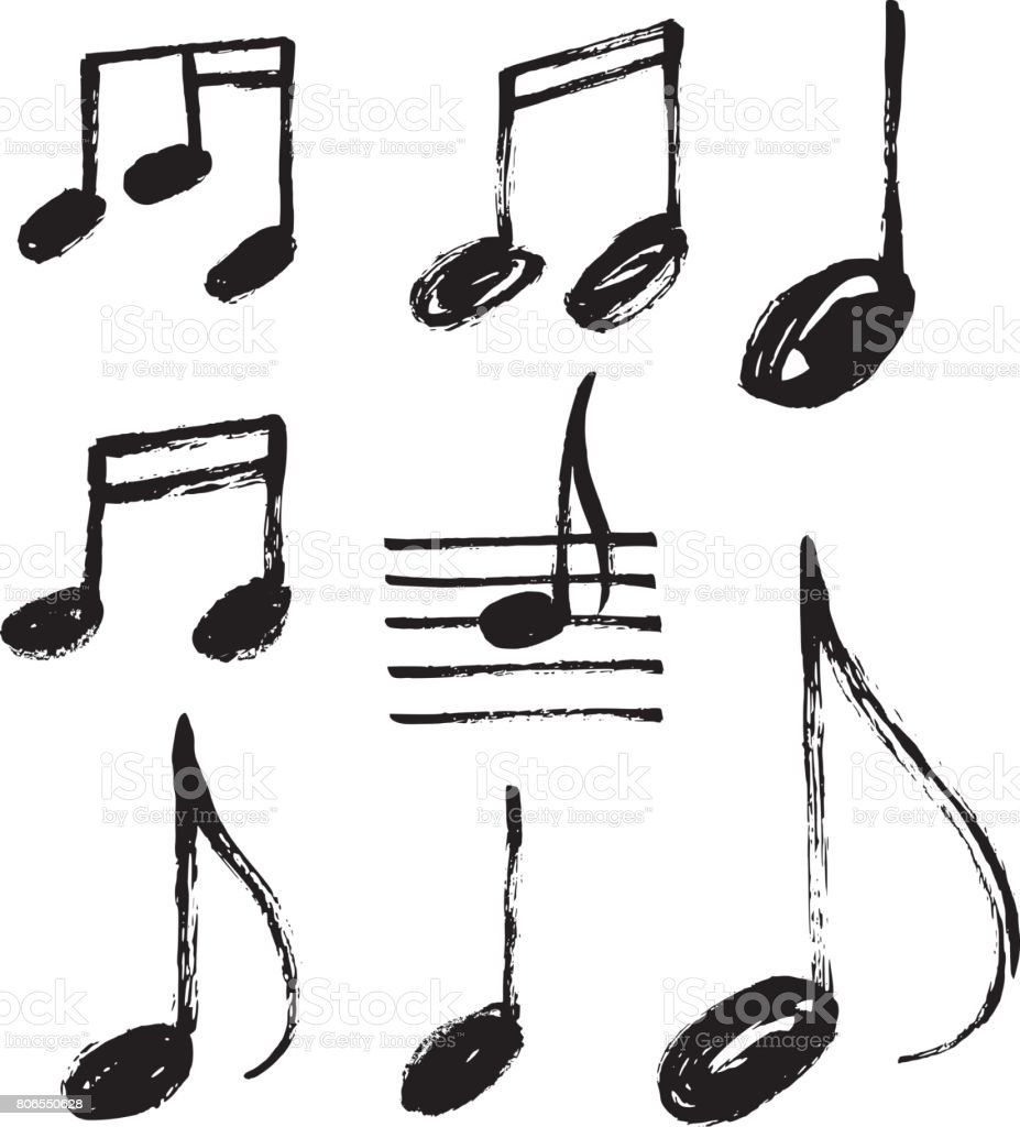 vector set of handdrawn music notes stock vector art more images rh istockphoto com Single Music Notes White Music Note Vector