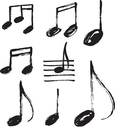 Vector set of handdrawn music notes.