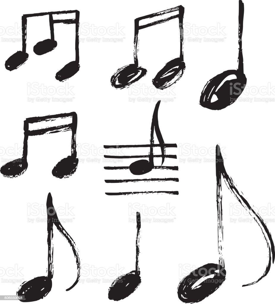 Vector set of handdrawn music notes. vector art illustration