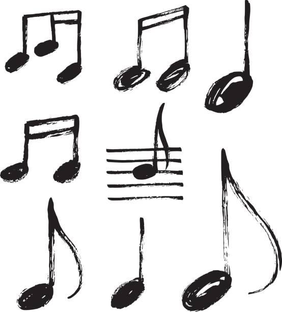 vektor satz von handgezeichneten musiknoten. - musiksymbole stock-grafiken, -clipart, -cartoons und -symbole