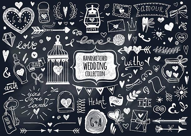 stockillustraties, clipart, cartoons en iconen met vector set of hand-drawn wedding elements. - borden en symbolen