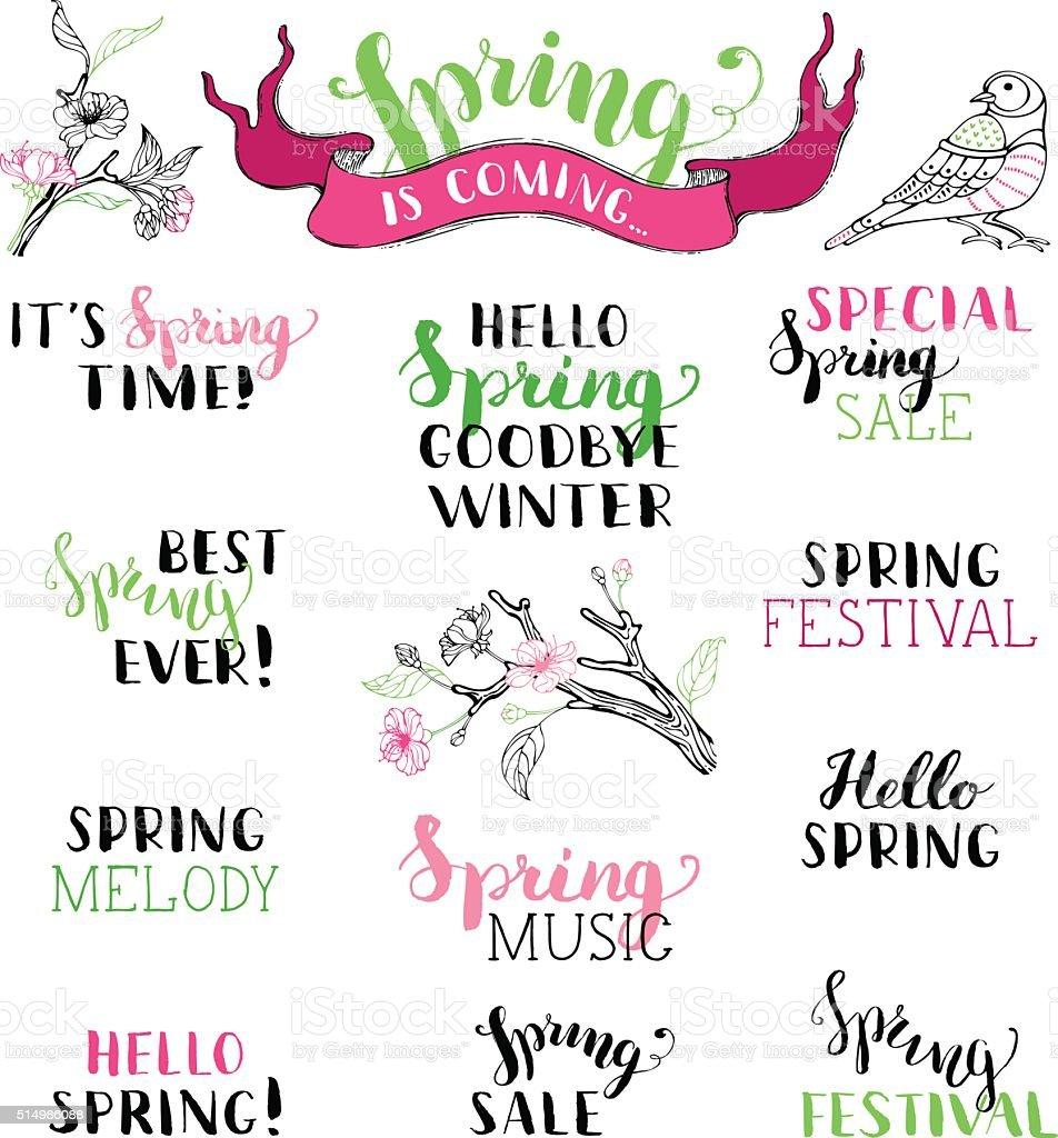ベクトルのセット手書きの春のブラシの文字 - こんにちはのベクター