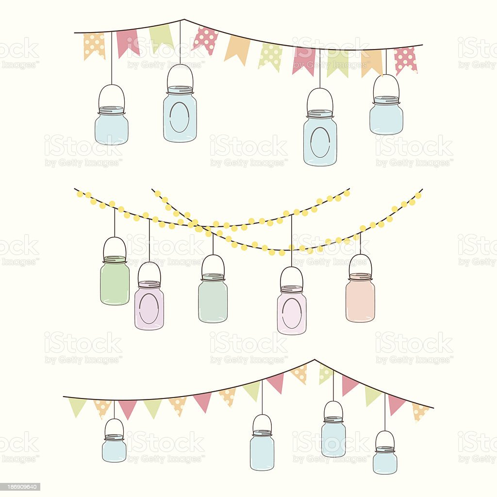 Vector Set of Hanging Glass Jar Lights and Bunting royalty-free vector set of hanging glass jar lights and bunting stock vector art & more images of airtight