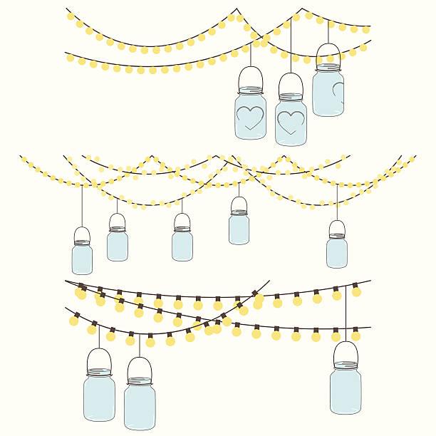illustrations, cliparts, dessins animés et icônes de vecteur jeu de suspendre des lumières de bocal de verre et bruant des - réception en plein air
