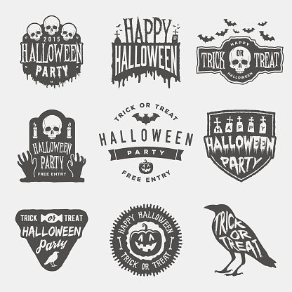 vector set of happy halloween vintage badges, emblems and labels