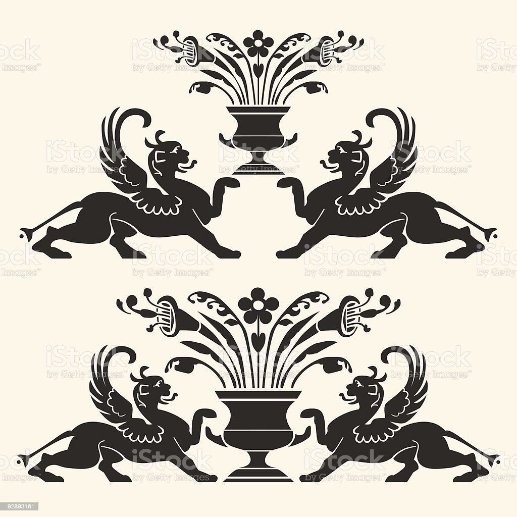 Vector set of heraldic ornaments vector art illustration