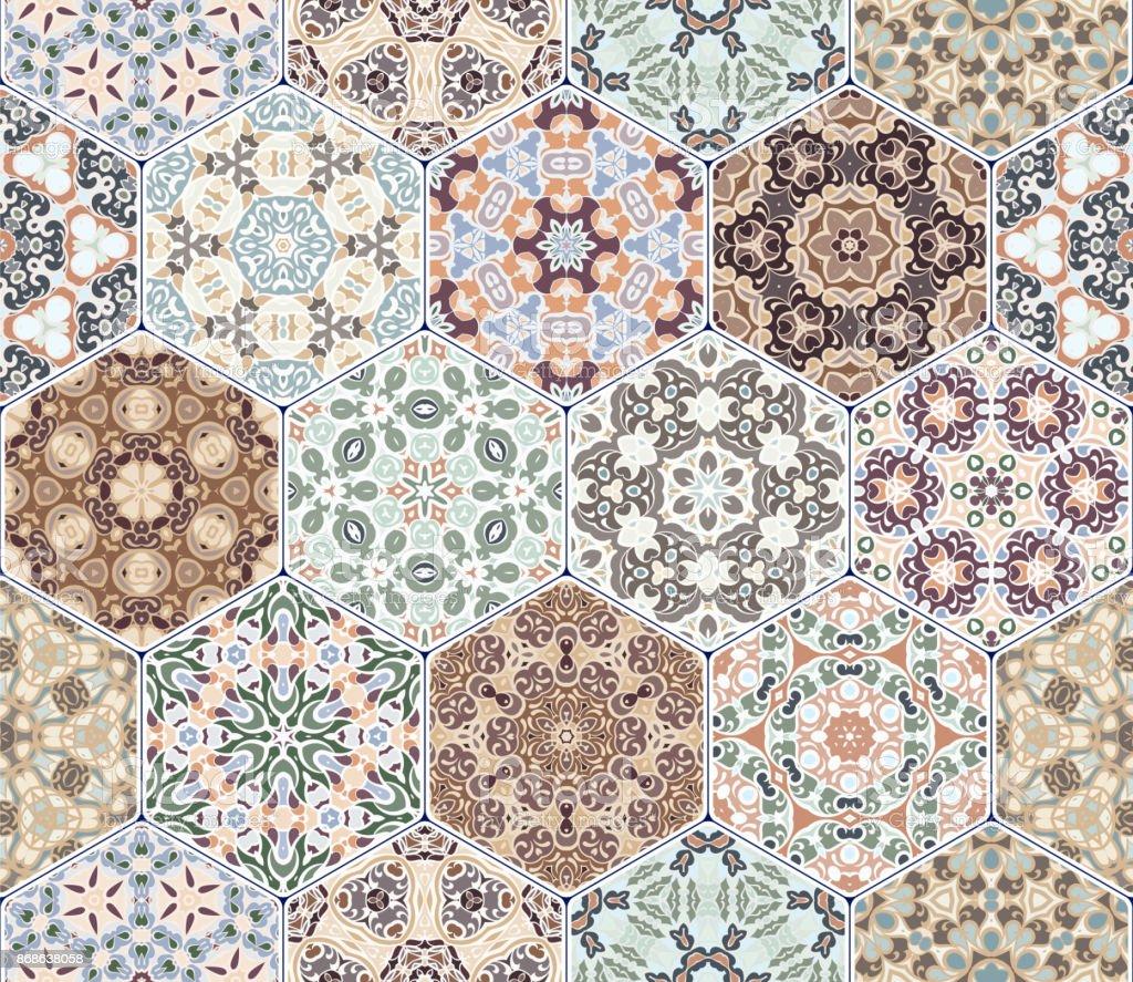 Vector Conjunto De Patrones Hexagonales - Arte vectorial de stock y ...