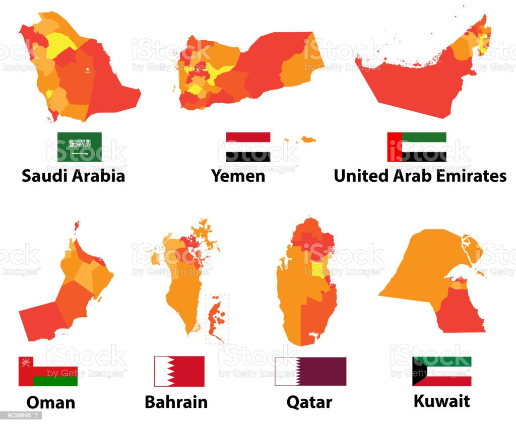 vector set of high detailed arabic and middle east maps and flags with regions borders royalty