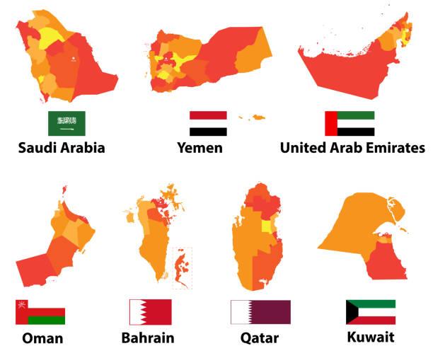 高詳細なアラビア語と中東の地図と地域枠でフラグのベクトルを設定 - 中東の地図点のイラスト素材/クリップアート素材/マンガ素材/アイコン素材
