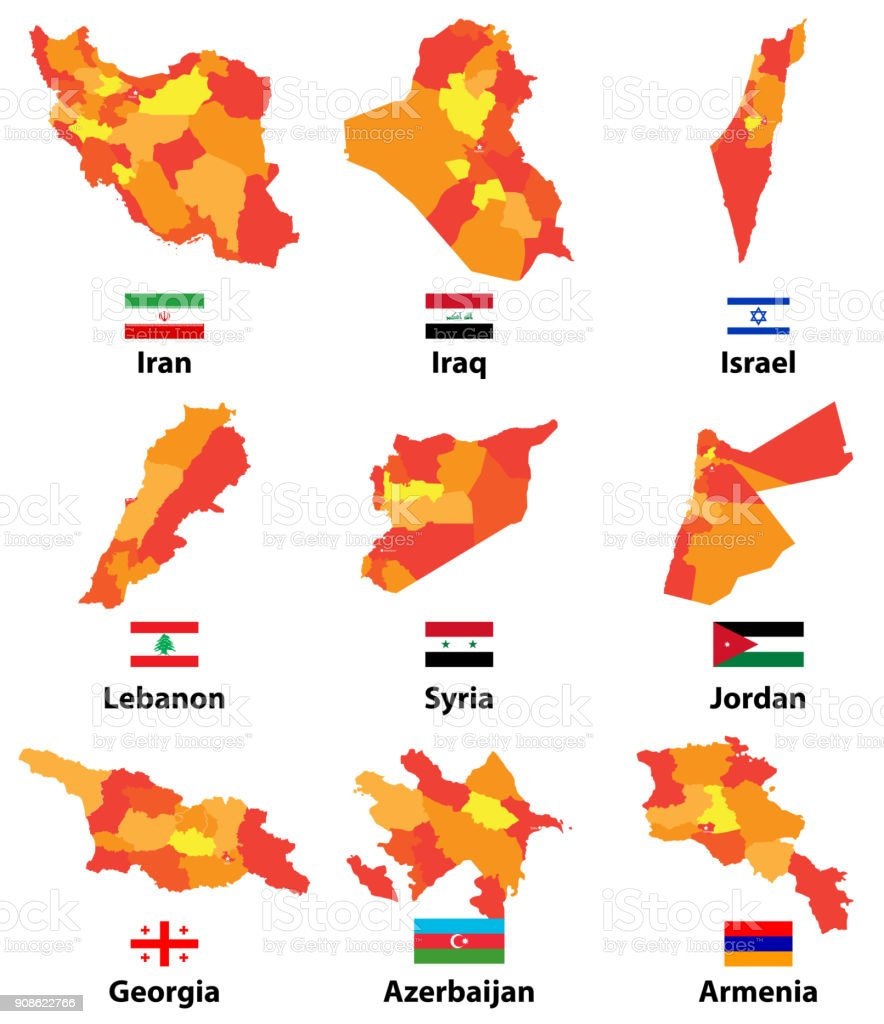Vector Set Of High Detailed Arabic And Middle East Maps And Flags ...