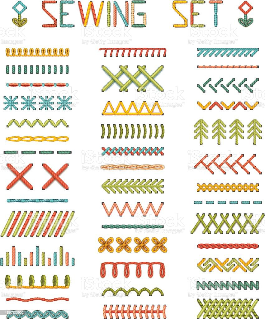 Vector set of high detailed stitches and seams. vector art illustration