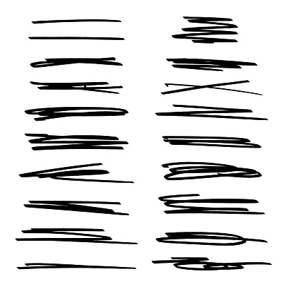Vector set of highlight lines and underlines. Collection of hand drawn strikethrough graphic marker elements. Stock illustration isolated on white background.