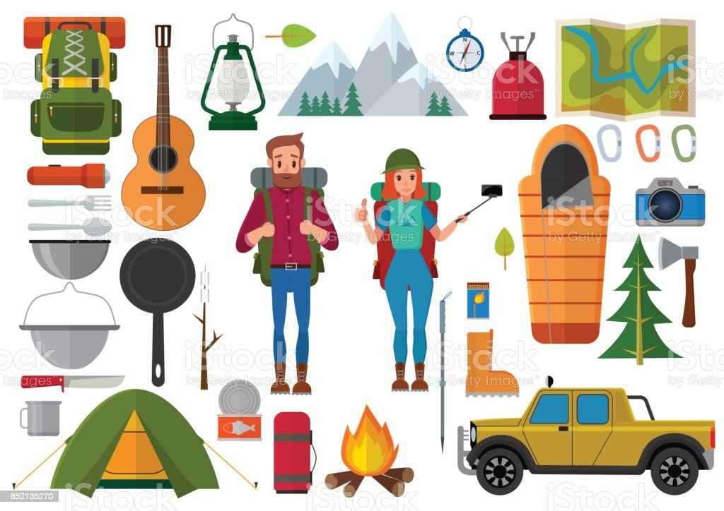 Vector set of hiking people and camping elements. Summer background with  camping equipment flat icons 23d24df34c3