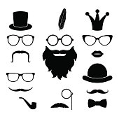 Vector set of hipster photosession accessories