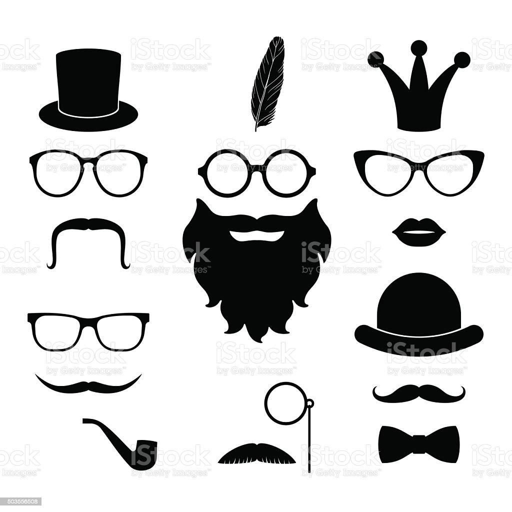Vector set of hipster photosession accessories vector art illustration