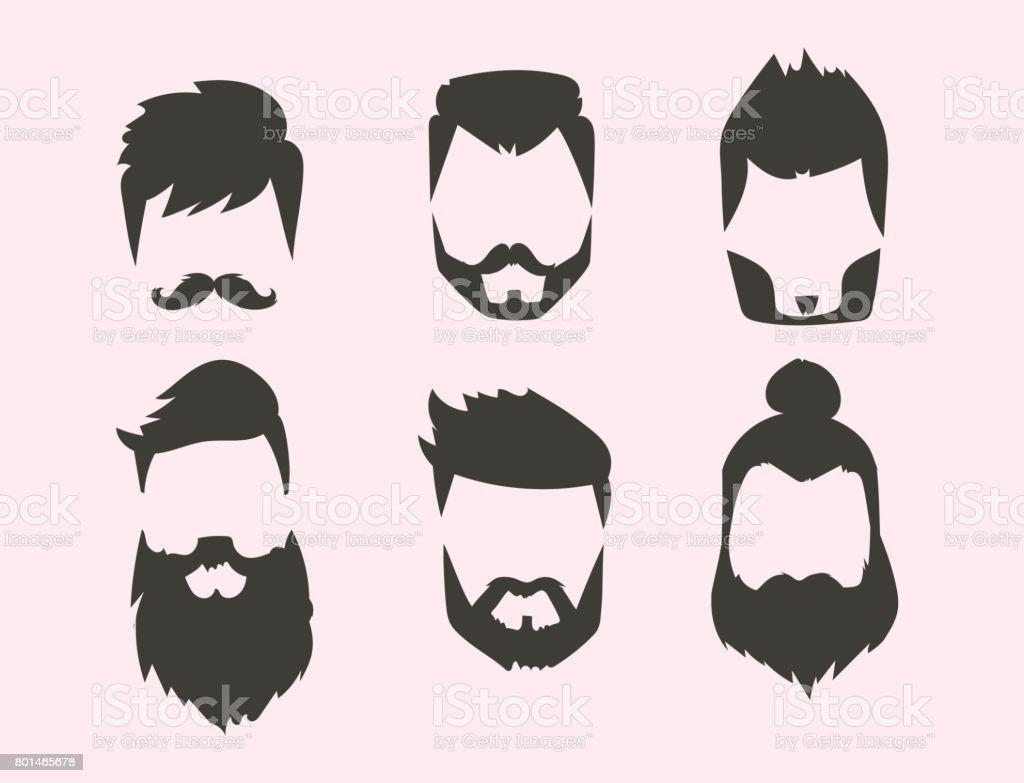 ヒップスター レトロな髪スタイル口ひげヴィンテージ古いひげをそる男性