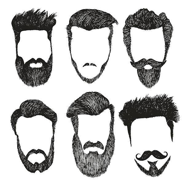 vektor-satz von hipster-stil, bart, schnurrbart schneiden - mann bart freisteller stock-grafiken, -clipart, -cartoons und -symbole
