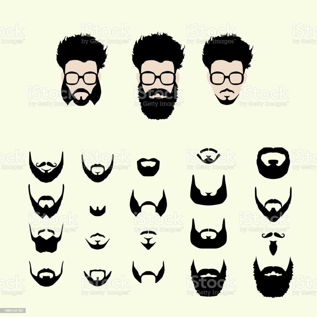 Vector Set Of Hipster Style Haircut Glasses Beard Mustache Royalty Free