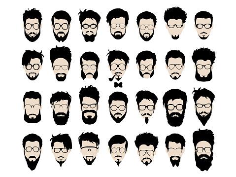 Vetores de Conjunto De Vetor De Estilo Hipster Óculos Corte De Cabelo E Barba Bigode e mais imagens de 2015