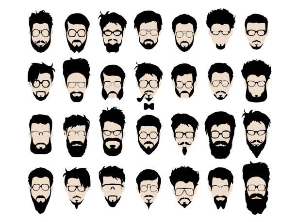 stockillustraties, clipart, cartoons en iconen met vector set of hipster style haircut, glasses, beard, mustache - baard