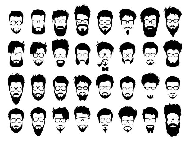 Vector set of hipster style haircut, glasses, beard, mustache vector art illustration