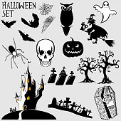 Vector set of holiday elements Halloween for your design. Vector illustration