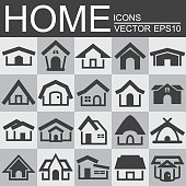 Vector set of home icons