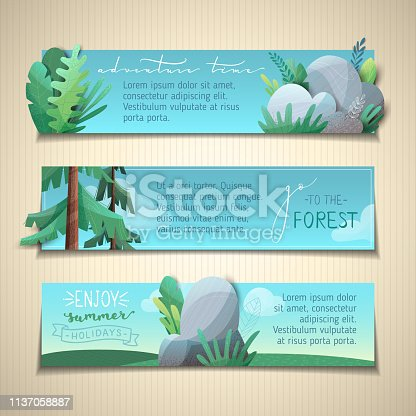 Nature landscapes. Firs, leaves, stones and grass. Flat background with modern noise texture. Copy space for your text in the sky.