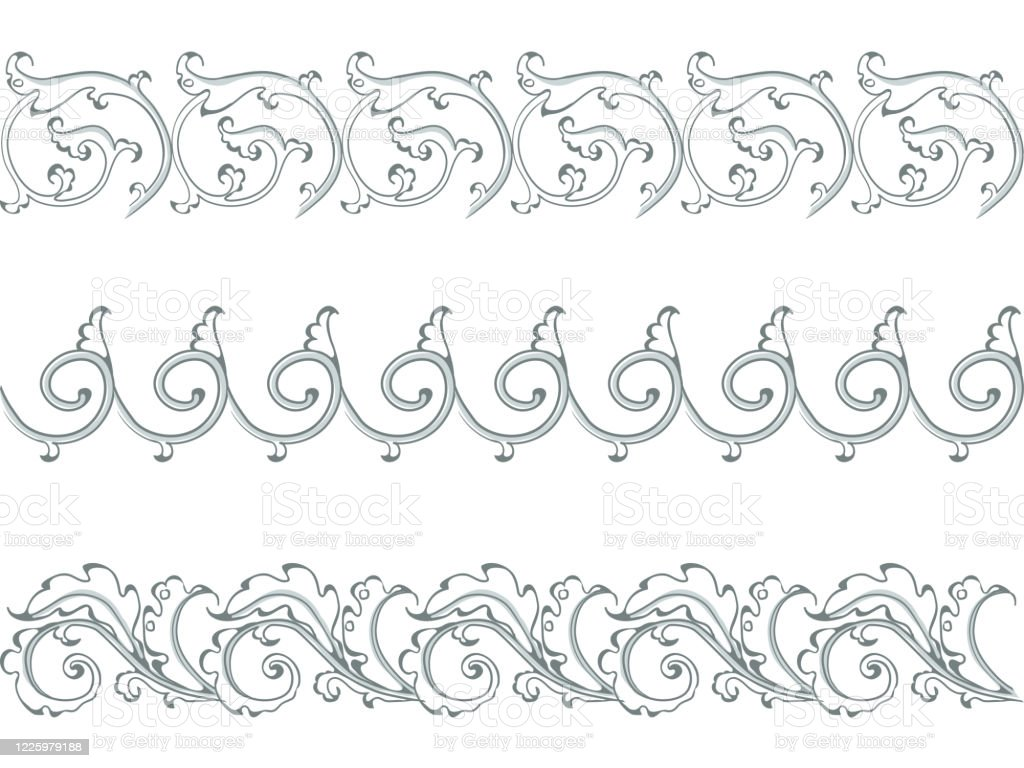 vector set of horizontal ornament of acanthus leaves in style baroque stock illustration download image now istock vector set of horizontal ornament of acanthus leaves in style baroque stock illustration download image now istock