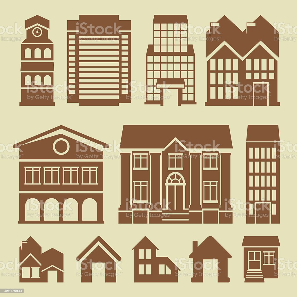 Vector set of houses icons royalty-free stock vector art