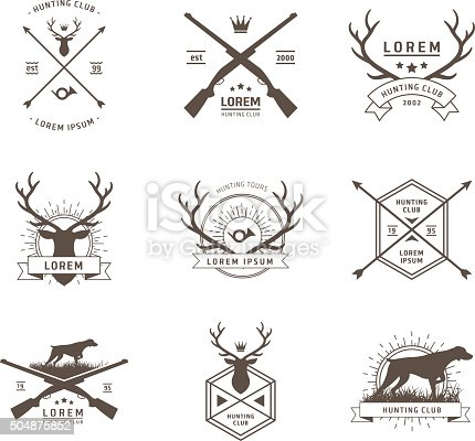 Vector set of hunting labels on white
