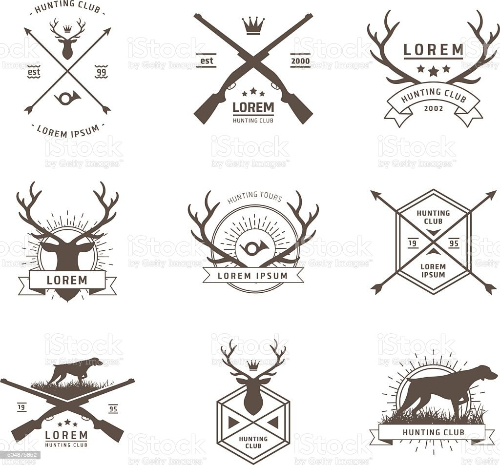 Vector set of hunting labels vector art illustration