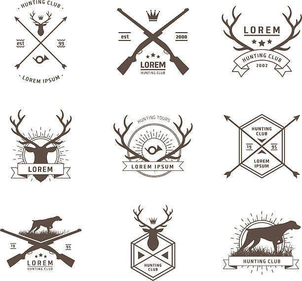 vector set of hunting labels - deer antlers stock illustrations, clip art, cartoons, & icons