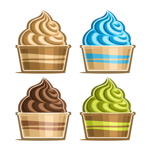 vektor-set ice cream in papierschale - vanillesauce stock-grafiken, -clipart, -cartoons und -symbole