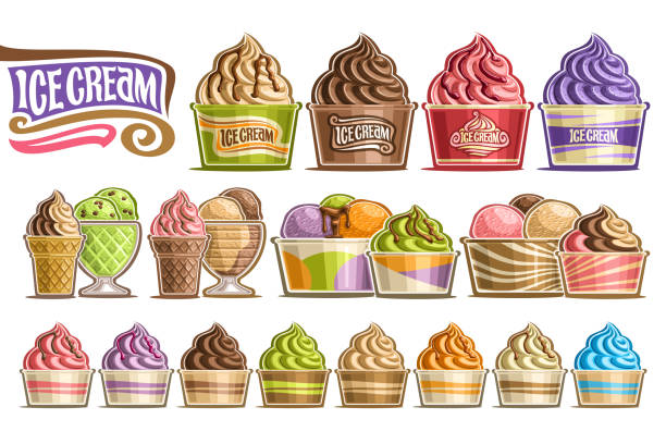 Vector set of Ice Creams Vector set of Ice Creams, 16 cut out illustration of variety icecreams on white background, collection of different ice creams dripping sauce in paper and glass containers with fruits ingredients. bowl of ice cream stock illustrations