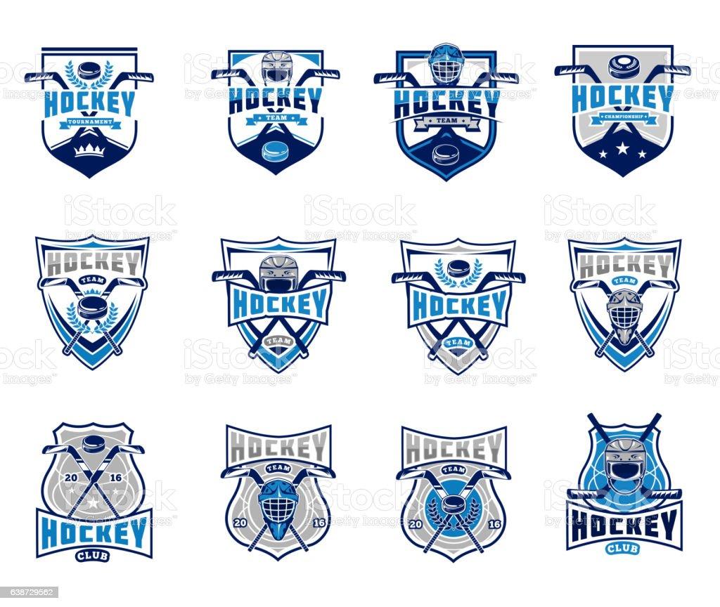 Vector set of ice hockey badges, stickers, emblems vector art illustration