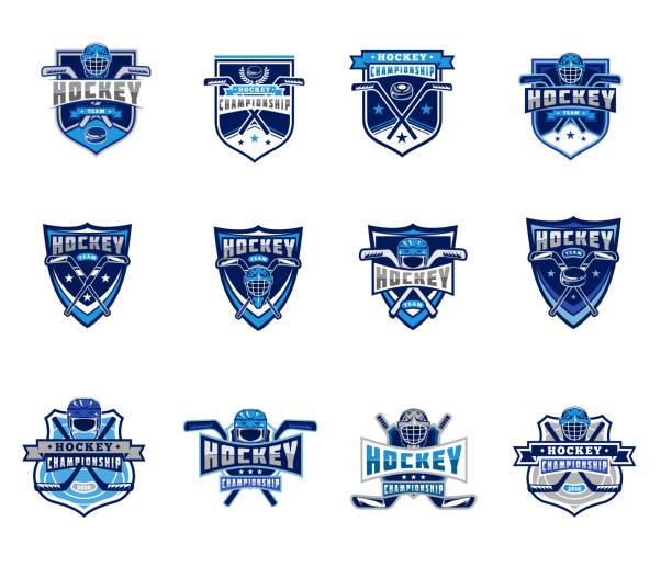 ilustraciones, imágenes clip art, dibujos animados e iconos de stock de vector set of ice hockey badges, stickers, emblems - hockey
