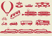 Vector set of  icon, stencils and prints of urban transport.