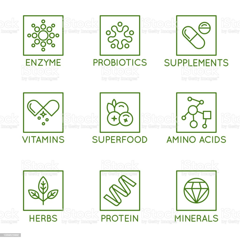 Vector set of icons and badges for packaging for natural health products, vitamins, supplements vector art illustration